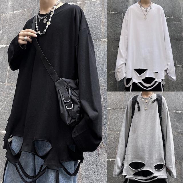 【トップス】ストリート系ダメージ加工長袖ファッションTシャツ32843095