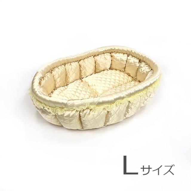 ふーじこちゃんママ手作り ぽんぽんベッド(サテンクリーム)Lサイズ【PB16-055L】