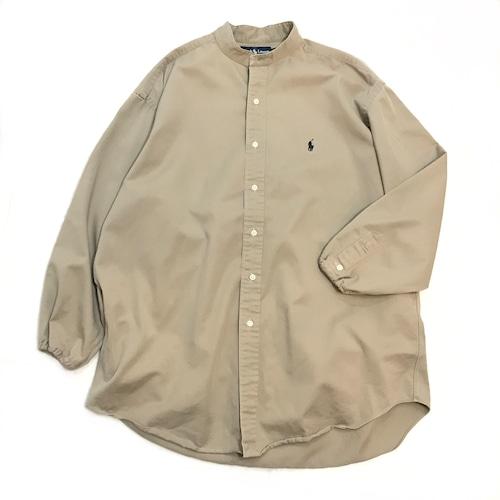 【USED】REMAKE Ralph Lauren ラルフローレン バンドカラーシャツ ベージュ