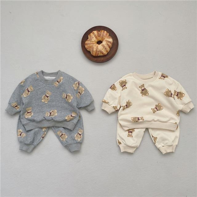 【お取り寄せ】66-100 くまさんパジャマ トレーナー セットアップ 秋冬 子供