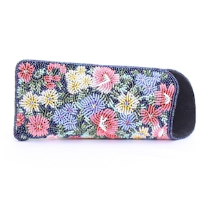 眼鏡ケース 081 紺花 ビーズ刺繍