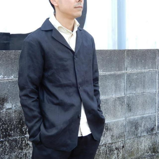 LOLO (ロロ) リネン アンコン シャツジャケット ブラック