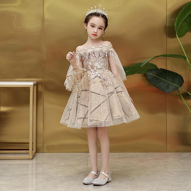 子供ドレス 子どもドレス キッズドレス 子供服装 演出装 舞台装 女の子 子供ワンピース ボートネック 100 110 120 130 140 150 160 プレゼント 誕生日 シャンパン お嬢さん お姫様