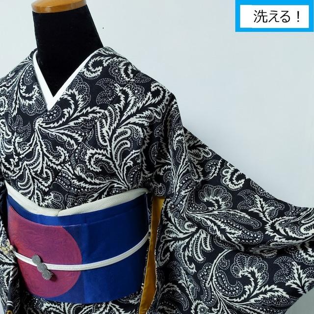 【洗える】プレタ小紋 エキゾチック更紗柄 黒×白 通し裏マスタード 丈162裄66.5