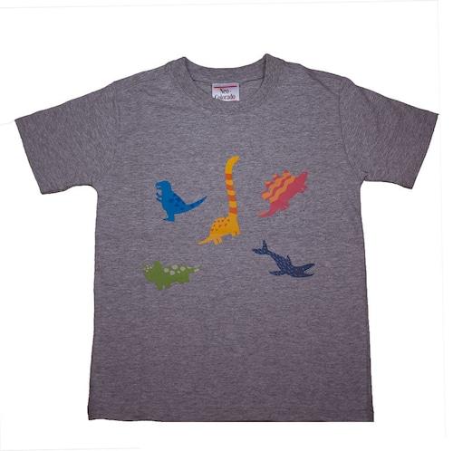 恐竜プリントTシャツ(子供用・恐竜ミックス)グレー【KT-AS】