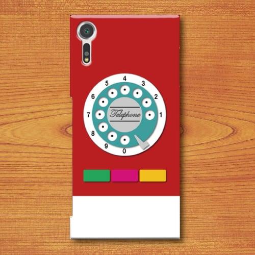 昭和レトロ/おもちゃ電話調/レトロ玩具調/赤色(レッド)/Androidスマホケース(ハードケース)