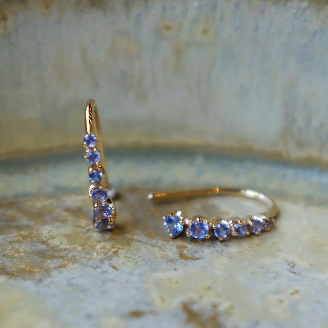 Meteor hook pierced earrings Tanzanite