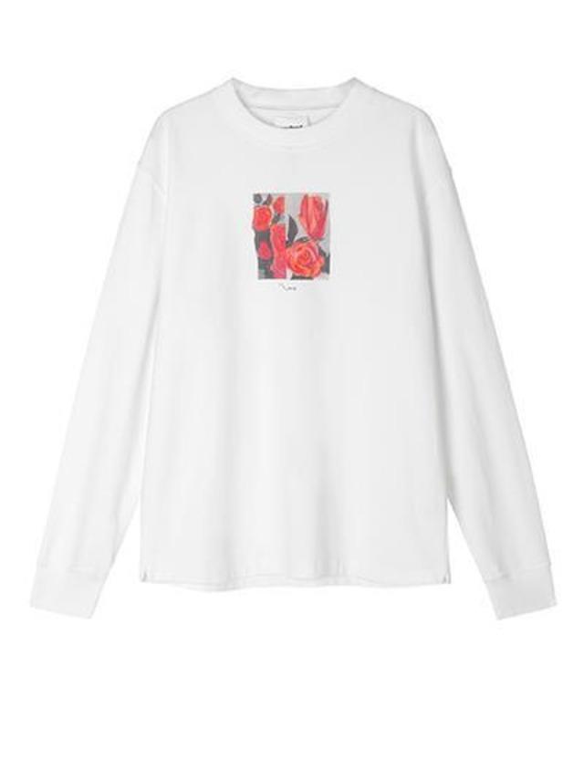 SOULLAND ROSE LONG SLEEVED T-SHIRT WHITE