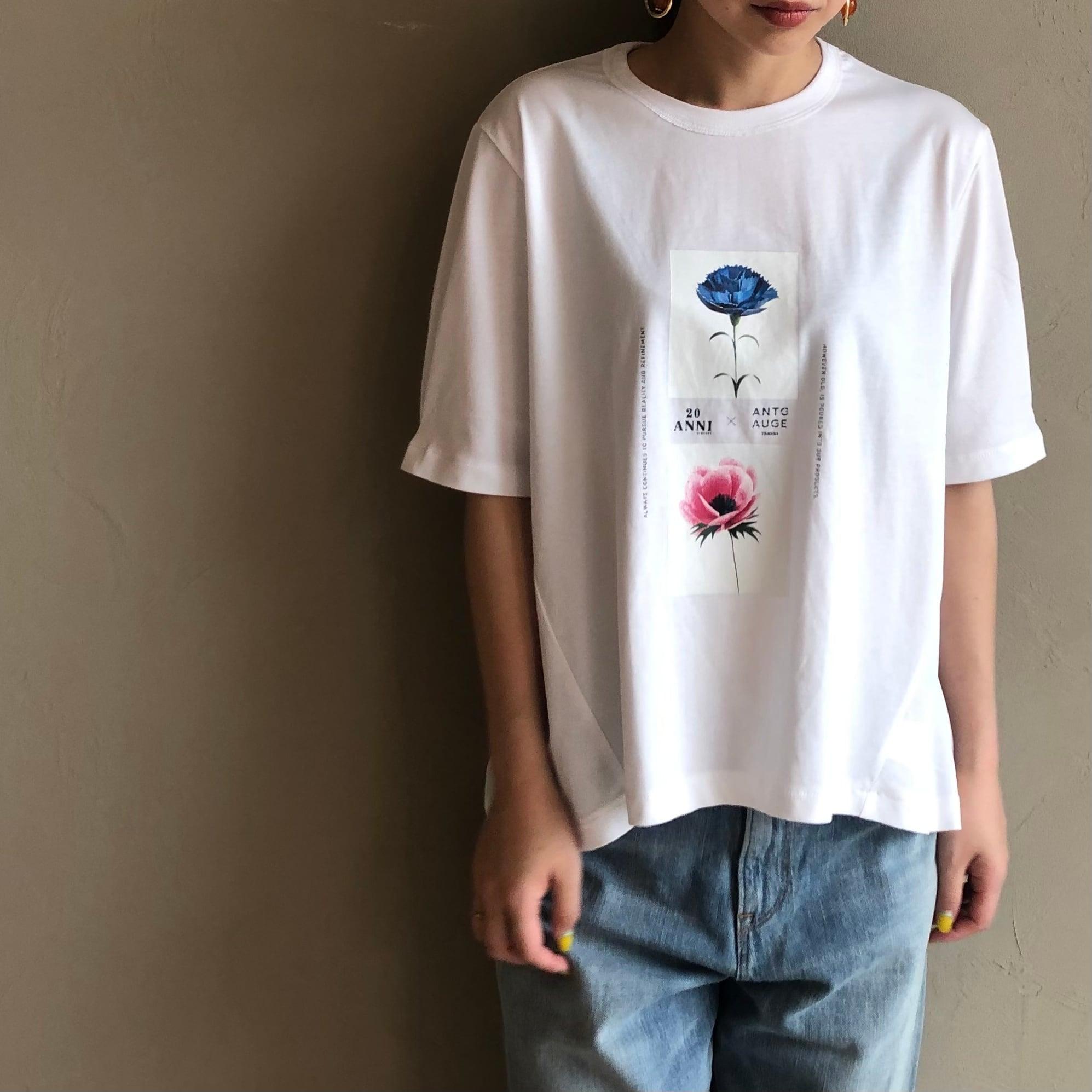 【 ANTGAUGE 】- AB962 - フラワープリント袖タックTシャツ