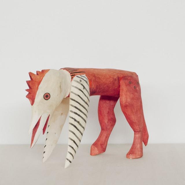 OAXACA Wood Carving Chicken Head Zebra オアハカ ウッドカービング チキンヘッドゼブラ