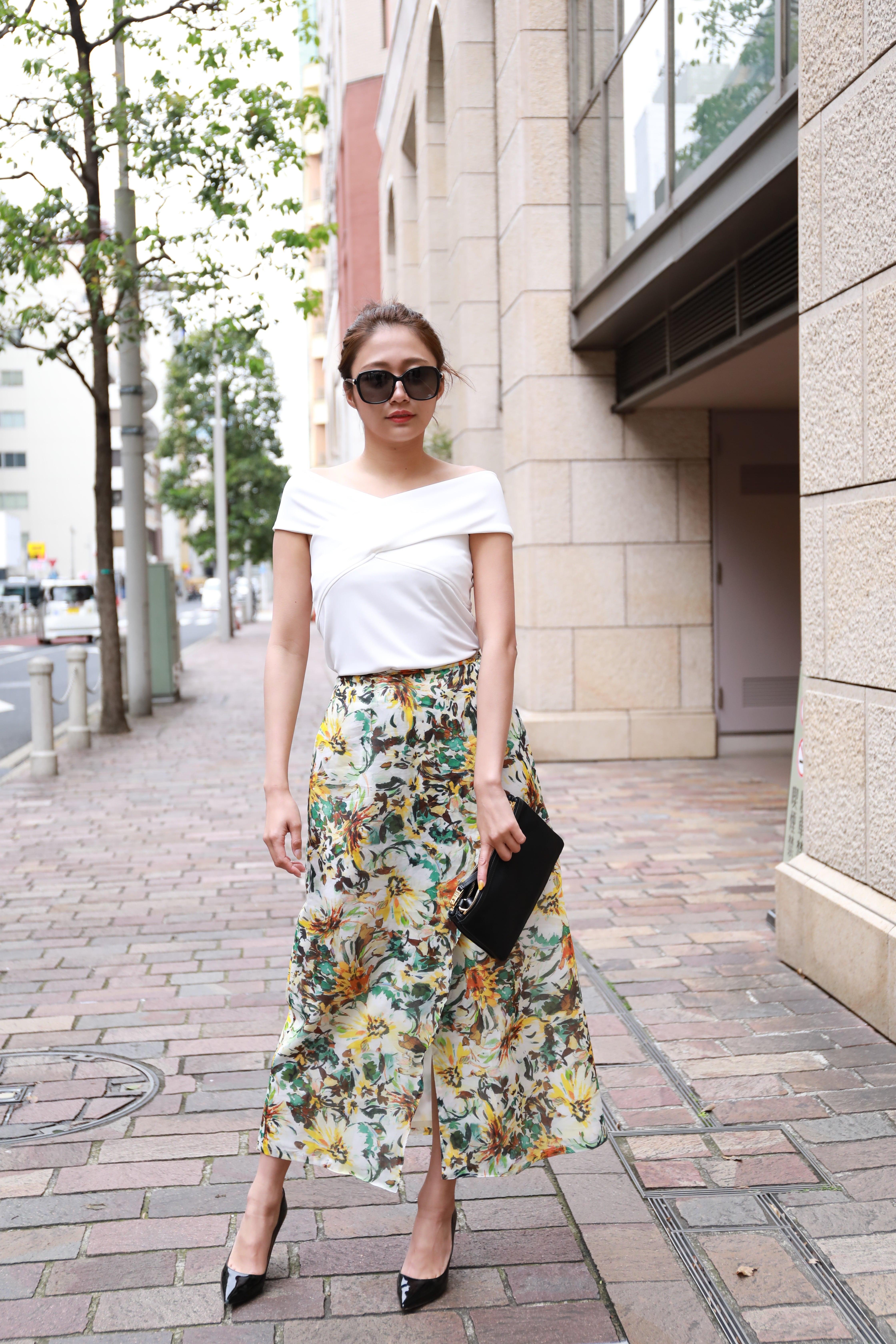 flower wrap skirt YEL