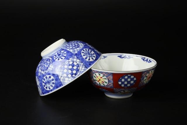 割丸小紋飯碗 清水焼