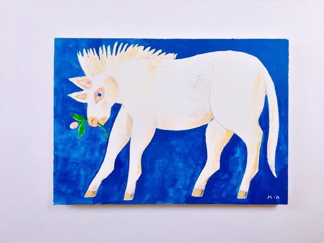 花を摘む馬(キャンバスタイプ)