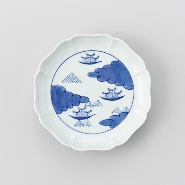 """【青花】""""船と異人""""八方割19cmプレート(雲に帆船)"""
