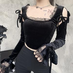 レディーストップス 長袖Tシャツ レース 黒 パンク ロック カジュアル セクシー ダンスウェア9096