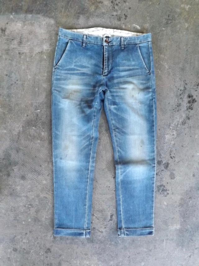 Men's  [ CM005-5500 ] デニムトラウザーズ  [Vintage Ocean wash  ブルー ]  ストレッチ,日本製,岡山デニム,メンズ.
