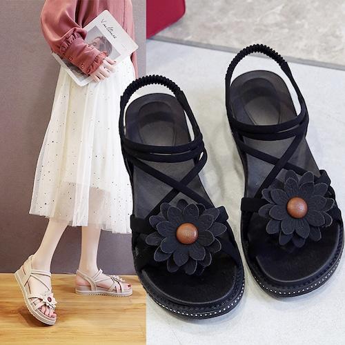 フラットサンダル 花 フラワー ストラップ 韓国ファッション レディース ビーチサンダル ぺたんこ サンダル キュート 痛くない かわいい 靴 歩きやすい 617314042948