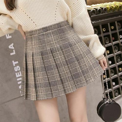 【★送料無料★】プリーツスカート チェック柄 韓国ファッション ミニスカート イエロー ハイウエスト かわいい レディース DCT-578871621357