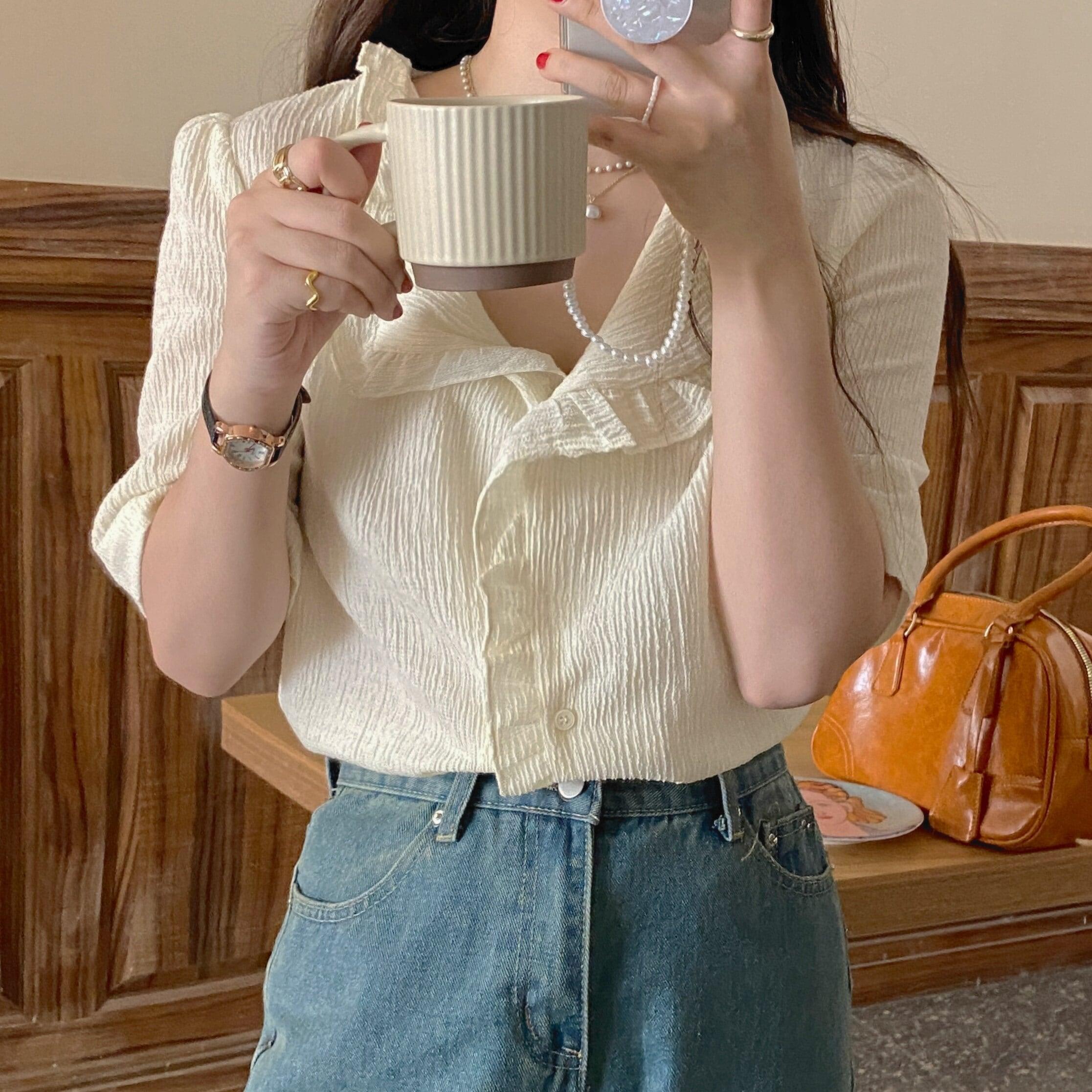 【トップス】サマーアプリコットブラウスシャツ