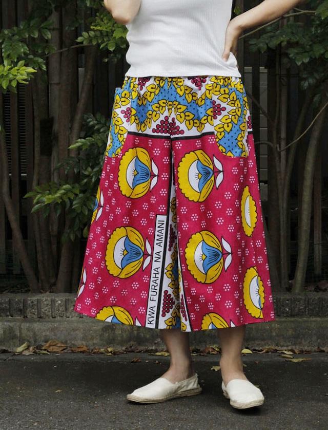カンガのワイドパンツ|アフリカ布 パンツ / カンガパンツ