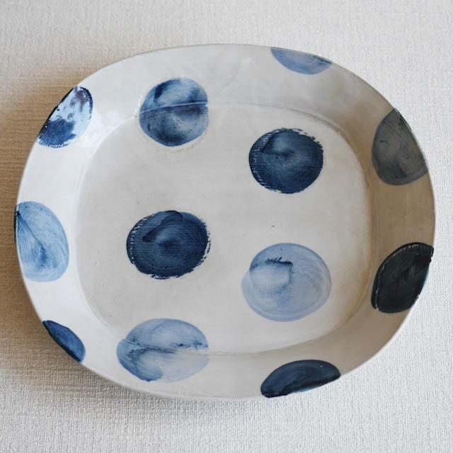 オーバル鉢 -Dot- Blue Lサイズ