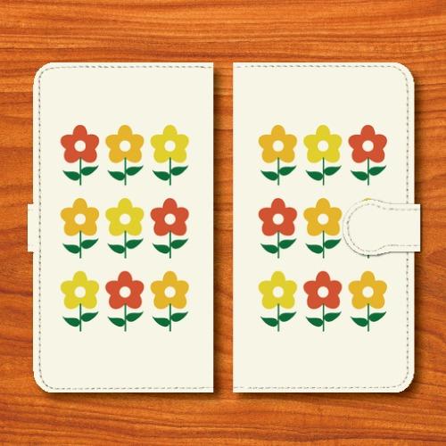 昭和レトロ/花柄/昭和食器調/白色/Androidスマホケース(手帳型ケース)