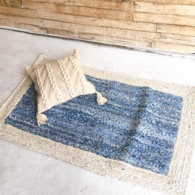 TOPANGA Homefurnishing ホワイト&ブルーデニムラグマット 80×140cm