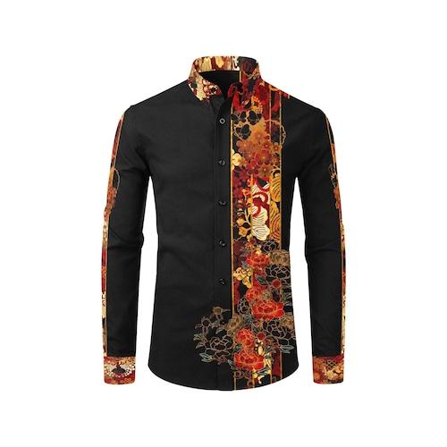 家紋ライン メンズサイズ長袖シャツ