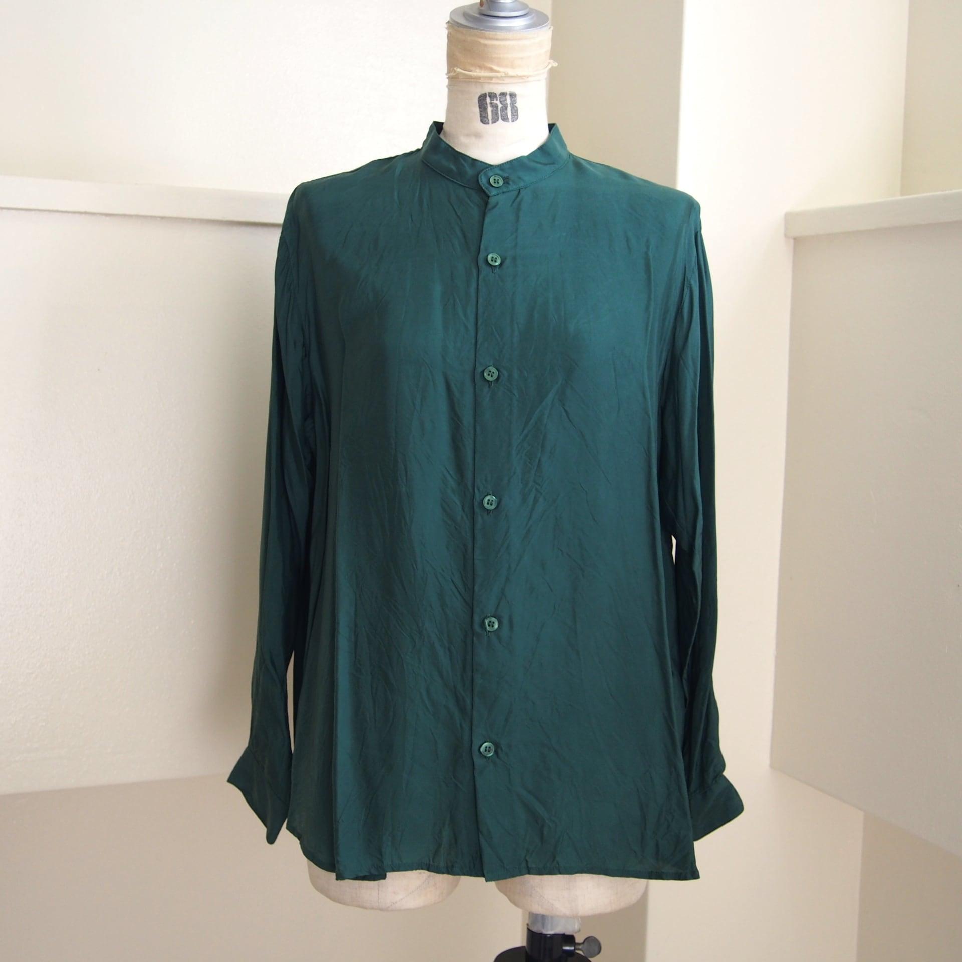 【hippiness】cupro A line shirt (123green)/【ヒッピネス】キュプラ Aライン シャツ(123グリーン)
