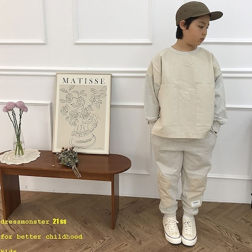 Special price!!! DRESS MONSTER 布帛×スウェット 上下セット110~130