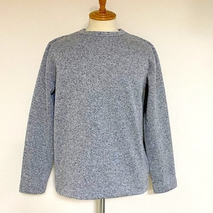 Sweater Fleece Melange Crewneck Knit-sew Gray