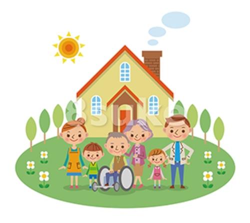 イラスト素材:三世代家族の介護イメージとマイホーム(ベクター・JPG)