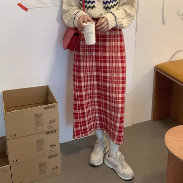韓国 オルチャン ブラウン チェック スカート SHQ541701