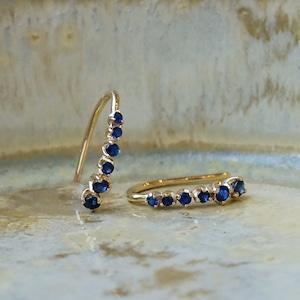 Meteor hook pierced earrings Sapphire