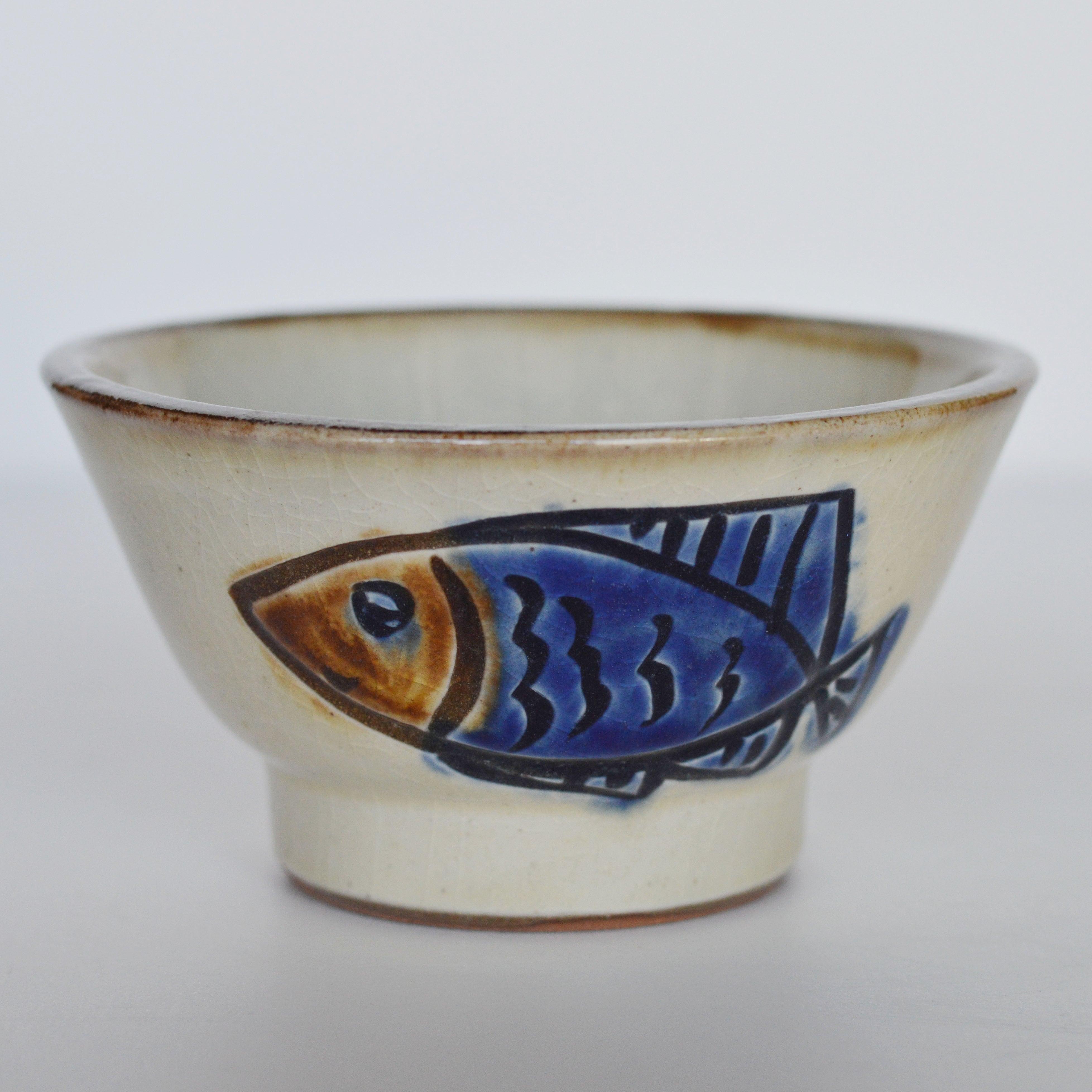 4寸マカイ  魚紋コバルト ノモ陶器製作所
