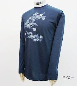 PE-703M秋冬メンズロングスリーブTシャツ(ネイビー)