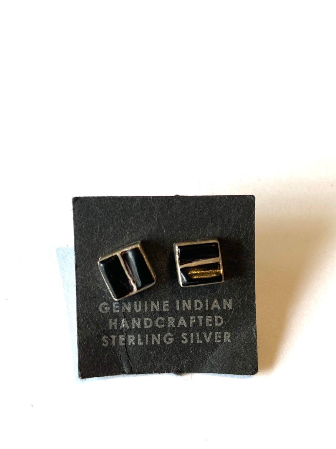 【Indian jewelry】ピアス~ブラックスクエア~