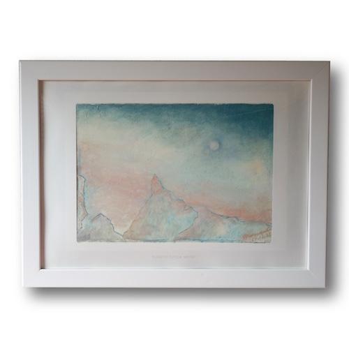 【購入後すぐに飾れる】【送料無料】『Illusion to Europa -winter-』 A5サイズ額装済み 油彩 ミクストメディア 絵画