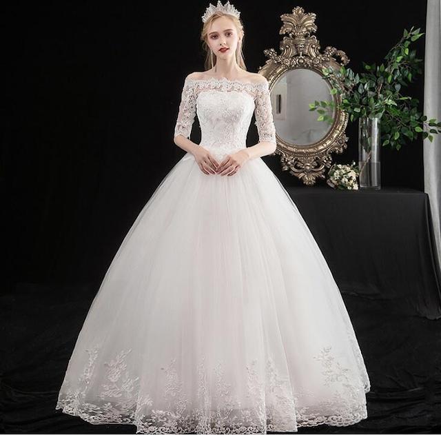 オフショルダーレースホワイトドレス