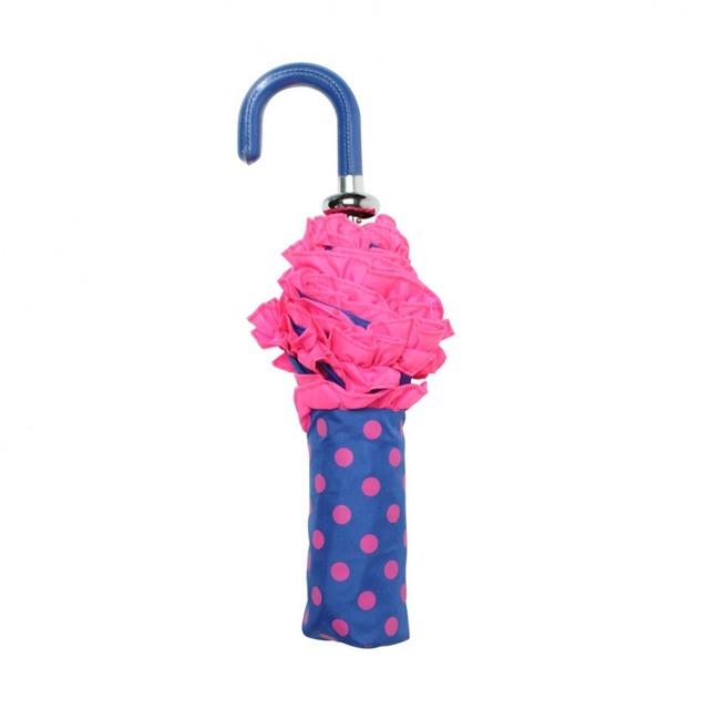 ボンベイダック コンフェティ  ハンドバッグ アンブレラ(折り畳み傘) ブルー with  ネオン ピンク スポット