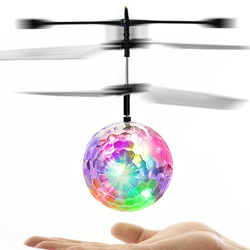 ボール型ヘリコプター フライングボール ライトアップボール ハンドコントロール  男の子 女の子 屋内 屋外 ゲーム 飛行器 子供 こども おもちゃ ガラス製ボール LEDライト cw-a-4127