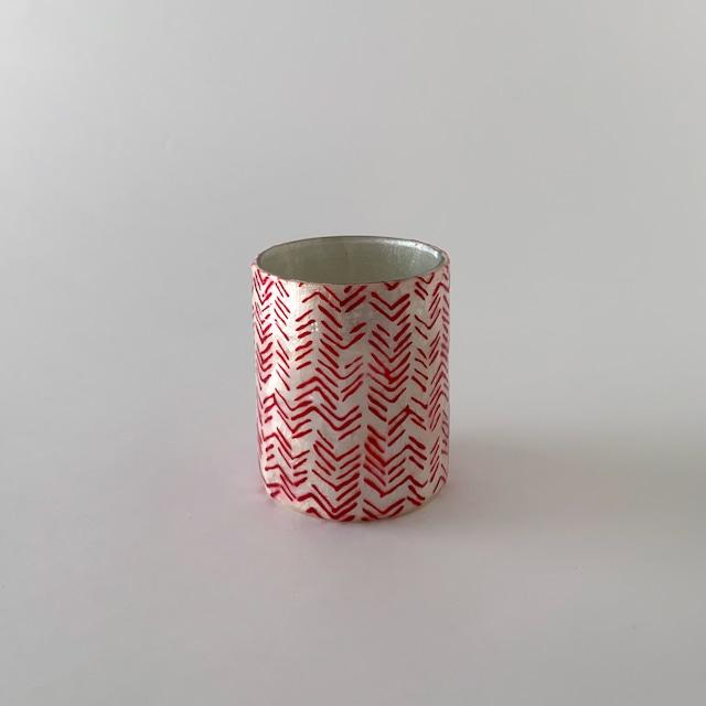 Votive Candleholder / Vase Red Herring Bone|ボーティブ キャンドルホルダー フラワーベース レッド ヘリンボーン
