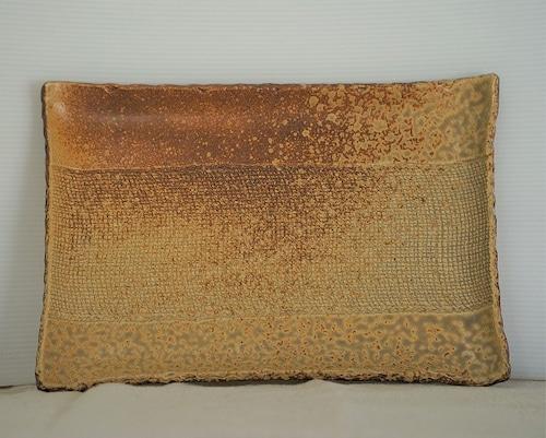T様オーダー品 布目模様の角皿(黄金・緑)【陶芸 JIN】