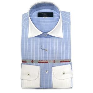 国産セミワイドカラーシャツ ストライプ ブルー