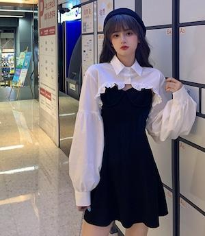 【送料無料】セットアップ 春 秋 シャツ サスペンダースカート ホワイト ブラック サイズ豊富