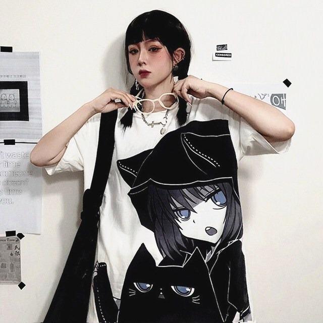 【トップス】ストリート系アニメ図柄プリントファッション半袖Tシャツ41835244