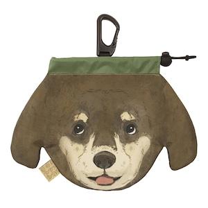 犬のウンチバッグ M【ダックスフント】(茶色 x クリーム色) 防臭生地 / デオドラント加工布使用