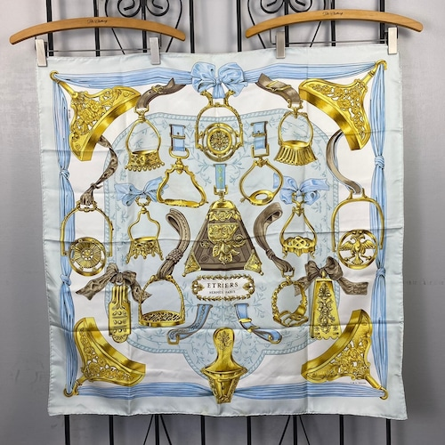 HERMES CARRES90 ETRIERS LARGE SIZE SILK 100% SCARF MADE IN FRANCE/エルメスカレ90 鐙 シルク100%大判スカーフ