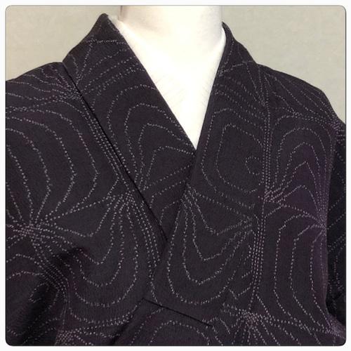 ★美品 単衣 小紋 紫 洗える 丈157 幾何学 ★ 2263