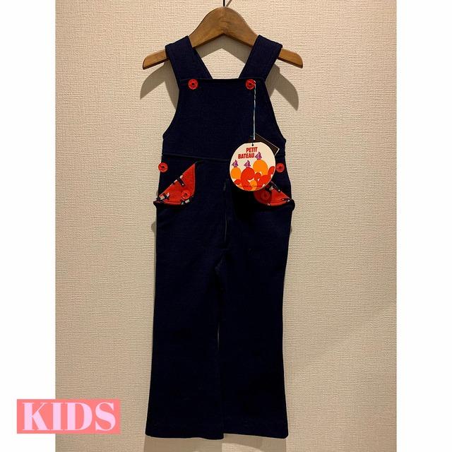【KIDS】<Petit Bateau>  VINTAGE 70's Dark Blue Jersey Jumpsuit - French-
